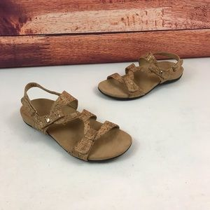 Vionic Paros Gold Cork Strappy Sandals Size 8 M